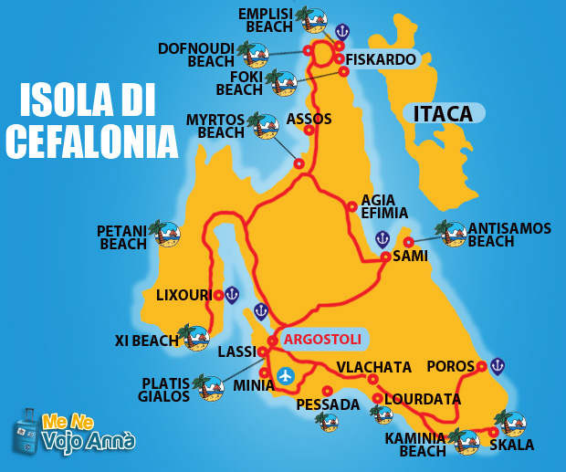 Пляжи Кефалонии на карте