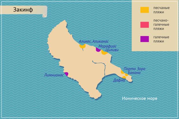 Пляжи острова Закинф на карте