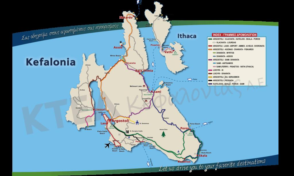 Карта острова Кефалония Греция