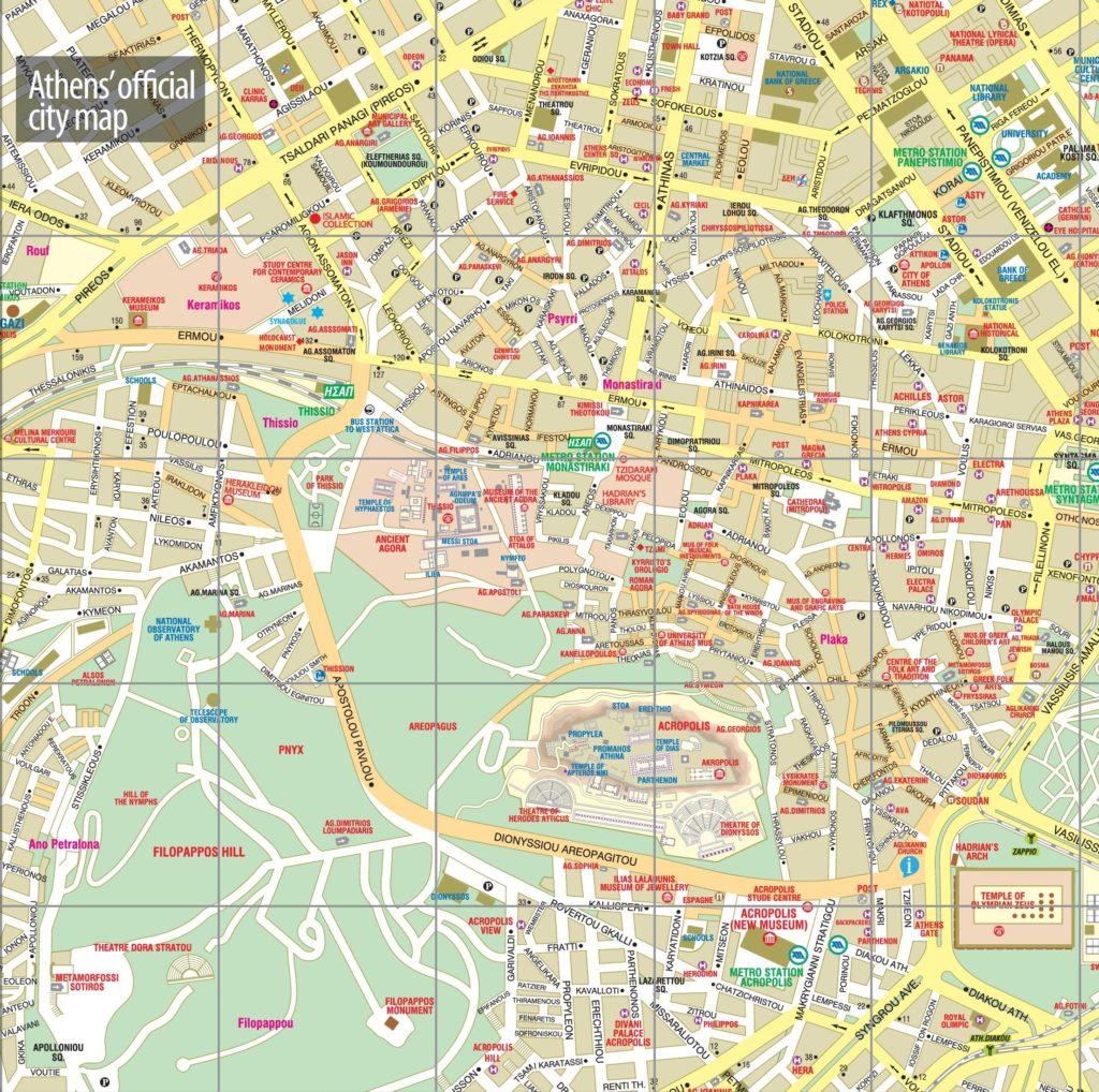 Туристическая карта Афин с достопримечательностями
