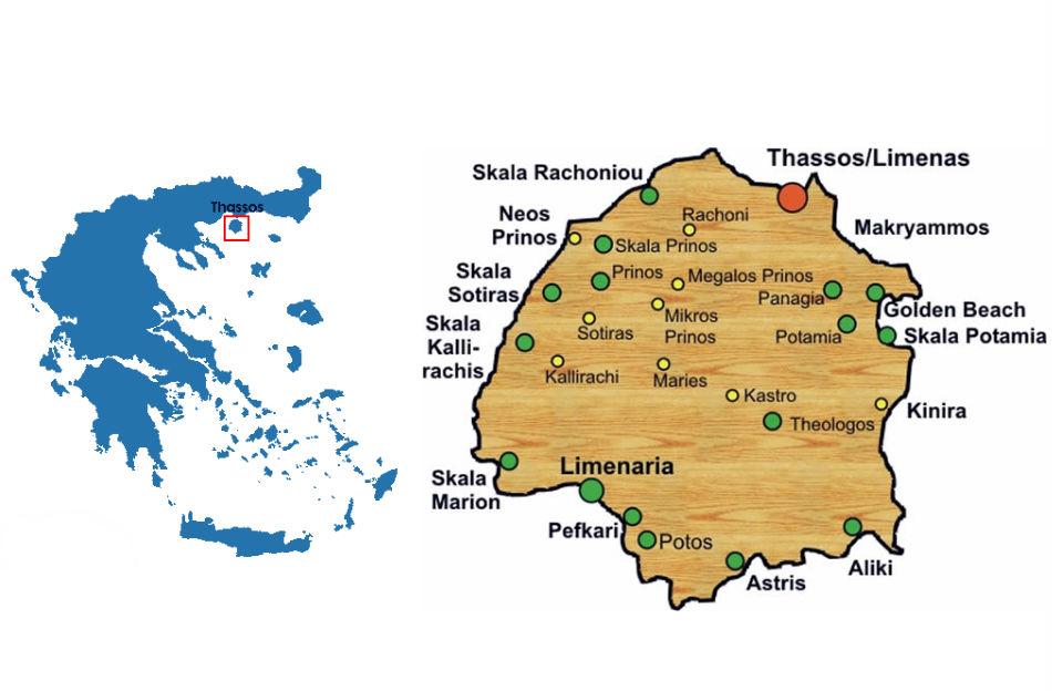 Карта курортов острова Тасос