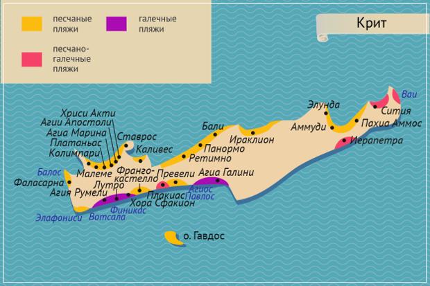 Карта Крита с пляжами