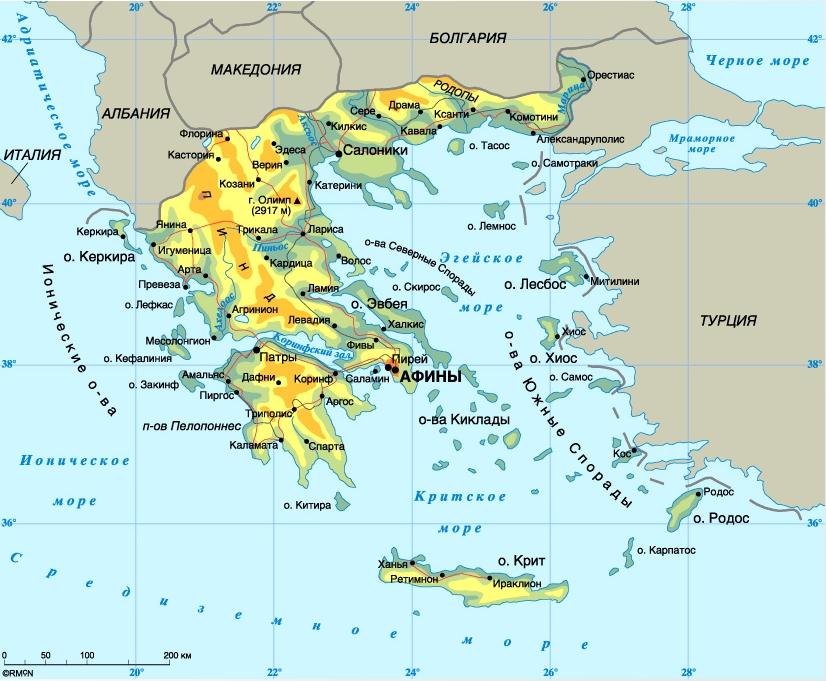 Карта Греции с морями