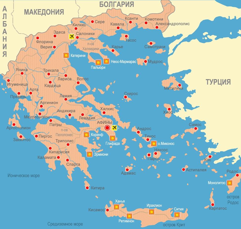 Карта Греции с городами и курортами