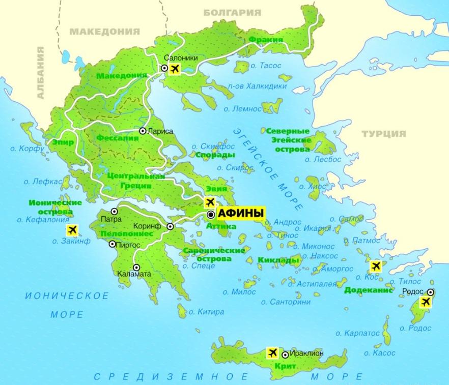 Карта материковой Греции с курортами